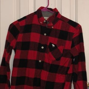 Boys Abercrombie kids red and black flannel